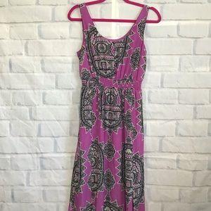 Anthro Maeve Mauve Silk Dress